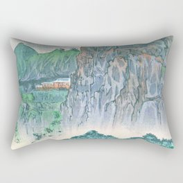 Kobayashi Kiyochika - Sketches of the Famous Sights of Japan - Bungo, Yabakei, Fururakan Temple - Digital Remastered Rectangular Pillow