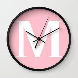 M MONOGRAM (WHITE & PINK) Wall Clock