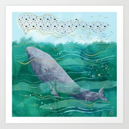 Blue Whale Song in the Emerald Ocean Art Print