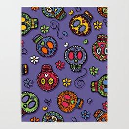 Sugar Skulls (on purple) - calavera, skull,  halloween, illustration Poster
