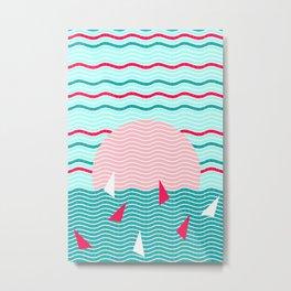 Hello Ocean Pink Sails Metal Print