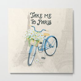 Vintage Blue Bicycle with Flowers in Paris Metal Print