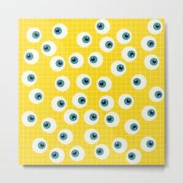 Cute Blue Eyes on Yellow Background Metal Print