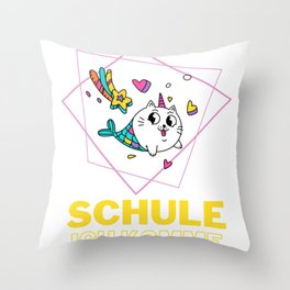 Cats Mermaid Unicorn Comes To School Throw Pillow
