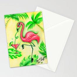 Flamingo Sipping a Pink Martini Stationery Cards