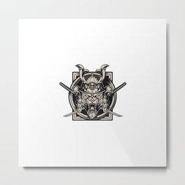 Angry Tiger Head Samurai Helmet Metal Print