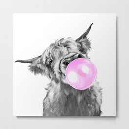 Bubble Gum Highland Cow Black and White Metal Print