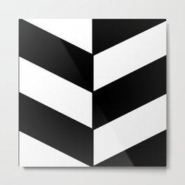BLACK AND WHITE  DIAGONAL STRIPES  thick Metal Print