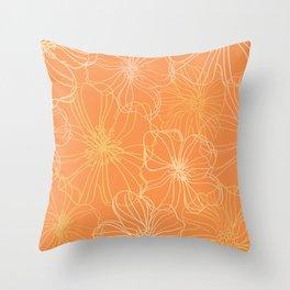 Line Art, Floral Prints, Orange and Yellow, Minimalist Art Throw Pillow