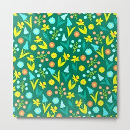 Easter Yellow Daffodil Pattern Metal Print