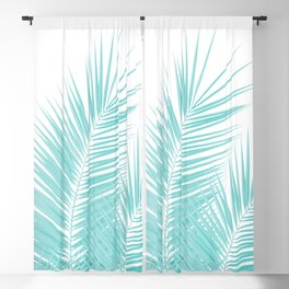 Soft Turquoise Palm Leaves Dream - Cali Summer Vibes #1 #tropical #decor #art #society6 Blackout Curtain