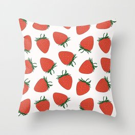 Strawberry Red Pattern Throw Pillow