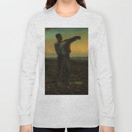 """Jean-François Millet """"La fin de la journée; effect du soir (The end of the day; evening effect)"""" Long Sleeve T-shirt"""