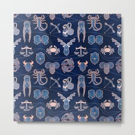 Geometric astrology zodiac signs // navy blue and coral Metal Print
