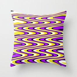Purple gold white and black slur Throw Pillow