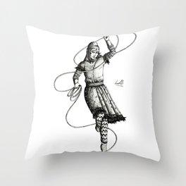 B&W Scythian Woman of Wonder Throw Pillow
