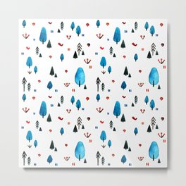 Little Blue Forest Metal Print
