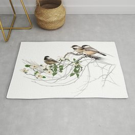 Chickadees on a Flowering Branch Rug