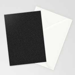 Classic White Polka Dot Hearts on Black Background Stationery Cards