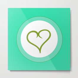 Green Heart with Love Metal Print