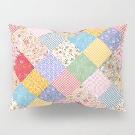 Happy Cottage Diamond Patchwork Quilt Pillow Sham