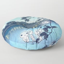 Kodama, Forest spirits vintage japanese woodblock mashup Floor Pillow