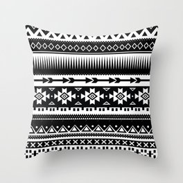 Aztec Pattern Black and White Throw Pillow