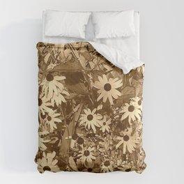 Sepia Daisies Comforters