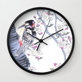 Woodpecker Sitting On A Cherry Tree - Antique Japanese Woodblock Print Art By Kono Bairei Wall Clock