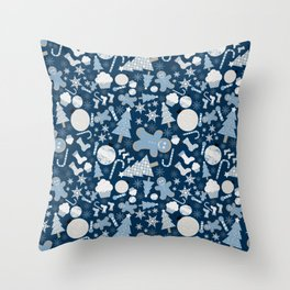 Blue Christmas Delights Throw Pillow