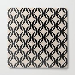 Vintage Geometric Pattern - Black Metal Print