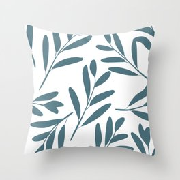 Prints of Leaves, Teal and White, Home Prints Throw Pillow