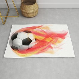 Sports Soccer Ball on Fire Rug
