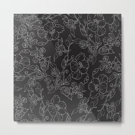 Modern black and white hand drawing floral Metal Print