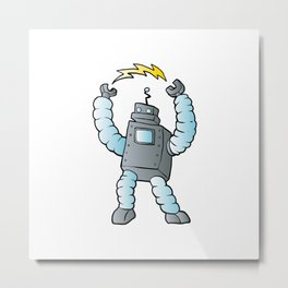 cartoon blue eletric robot Metal Print