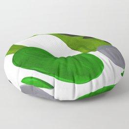 Mid Century Vintage 70's Design Abstract Minimalist Colorful Pop Art Olive Green Dark Green Grey Floor Pillow