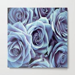 Ice Blue Periwinkle Roses / Flowers Metal Print