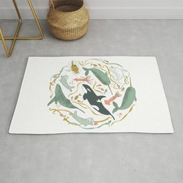 Cute Narwhal And Sea Creature Summery Ocean Circular Folk Art Illustration For Kids And The Young At Heart Rug
