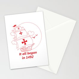 American continent - It all began in 1492 - Happy Columbus Day Stationery Cards