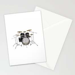 Black Drum Kit Stationery Cards