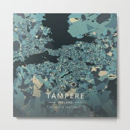 Tampere, Finland - Cream Blue Metal Print