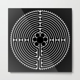 Cathedral of Our Lady of Chartres Labyrinth - Negative Metal Print