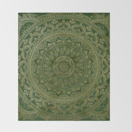Mandala Royal - Green and Gold Throw Blanket