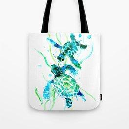 Sea Turtles, Turquoise blue Design Tote Bag