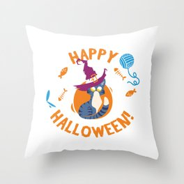 Happy Halloween Funny Witch Kitty Throw Pillow