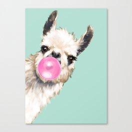 Bubble Gum Sneaky Llama in Green Leinwanddruck