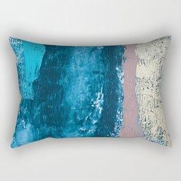 A river runs through it: a minimal, abstract mixed media piece in blue and gold by Alyssa Hamilton Rectangular Pillow