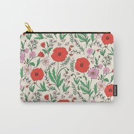 RETRO POPPY - PINK & RED Carry-All Pouch