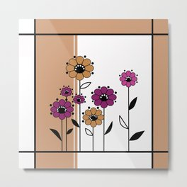 Floral applique , retro Metal Print
