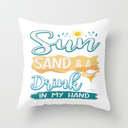 Funny Summer Sun Beach Holiday Vacation Drink Gift Throw Pillow